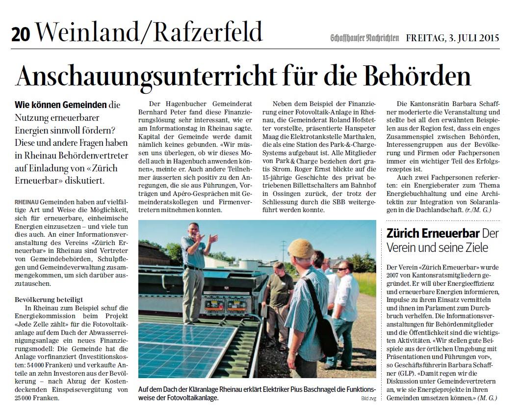 Bericht in den Schaffhauser Nachrichten über unseren Anlass in Rheinau