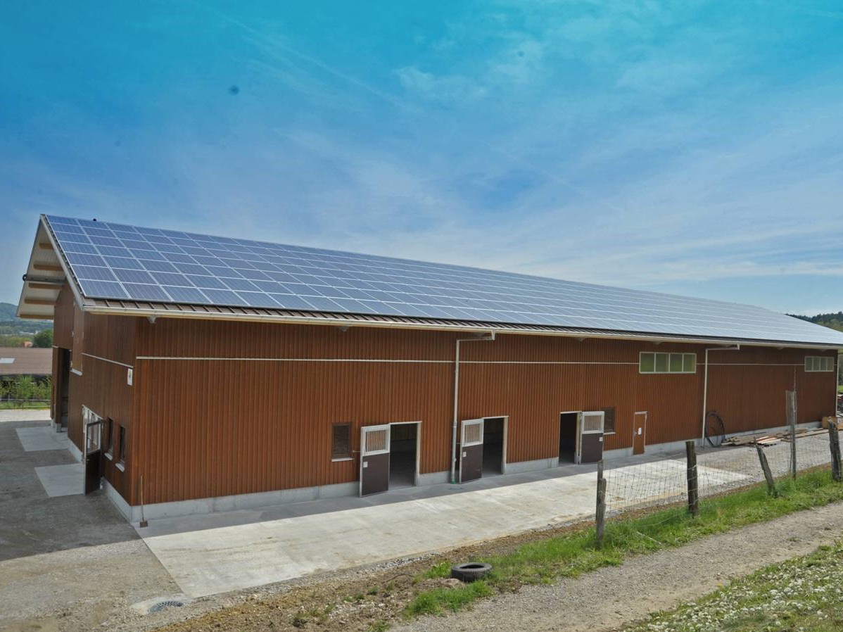 Das neue Gebäude mit Stall, Lager- und Maschinenhalle auf dem Hof Bräm in Dietikon wurde schon mit der Solaranlage geplant und gebaut. Das Ost-West ausgerichtete Dach ist beidseitig vollflächig mit Modulen belegt.