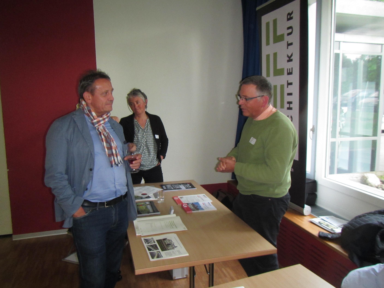 Kantonsrat und Gemeindepräsident André Bender im Gespräch mit Lucas Neff von neffArchitektur.