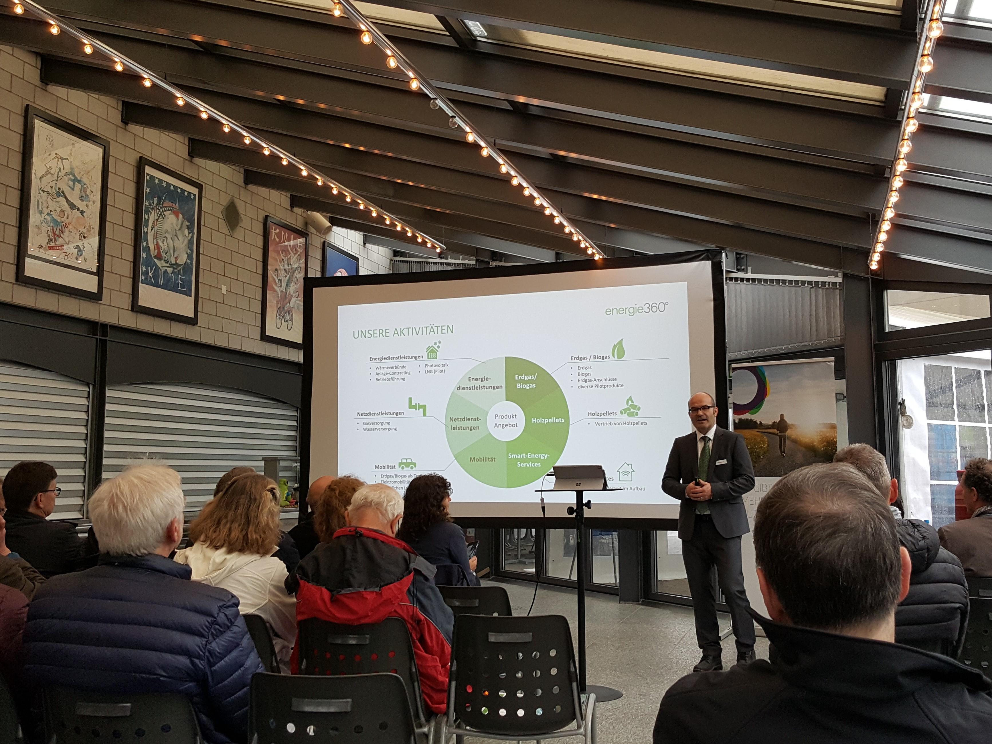 Peter Dietiker, Bereichsleiter Erneuerbare Energien eröffnet den Reigen der Präsentationen und zeigt den Tätigkeitsbereich von Energie 360° auf.